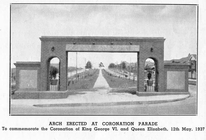 Coronation Arch Strathfield South 1936. Photo appeared in the Enfield Municipal Council Annual Report 1936.