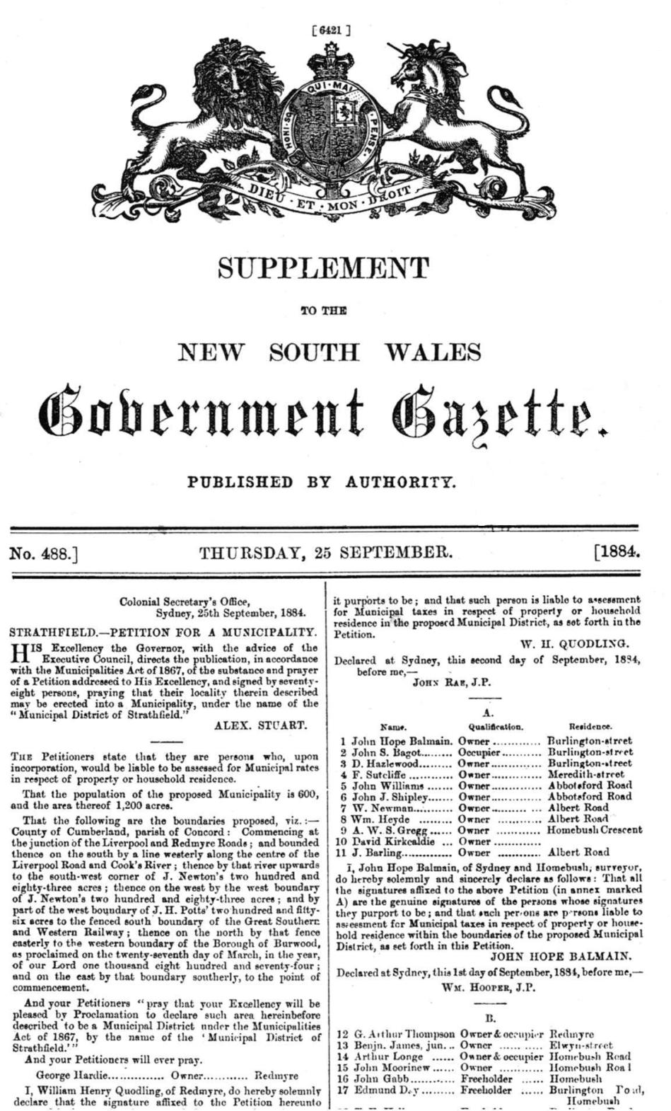 Government Gazette 1885