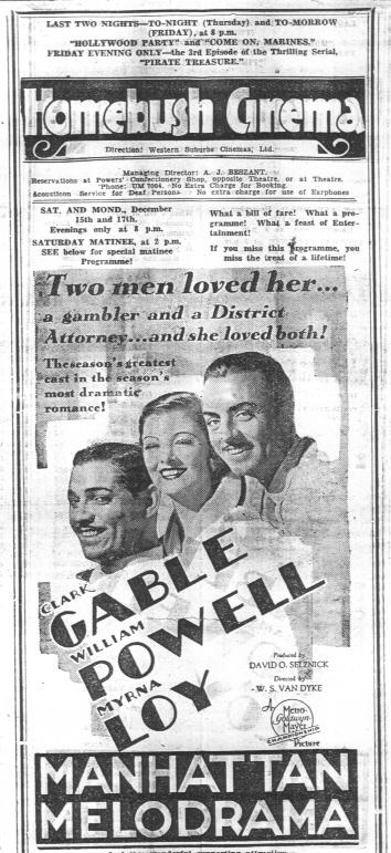 Homebush Cinema Advertisement 1934