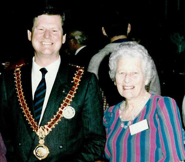 Lucy Stone with the then Mayor, Rod Rimes at the Strathfield Centennary Celebrations in