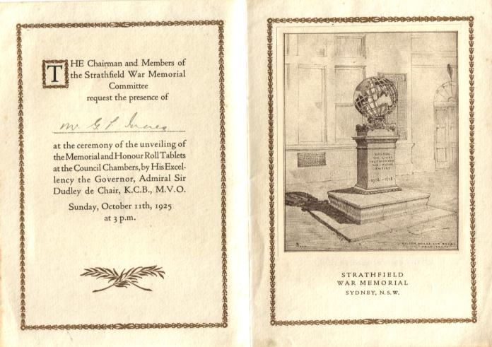 Invitation to the opening of the Strathfield War Memorial 1925
