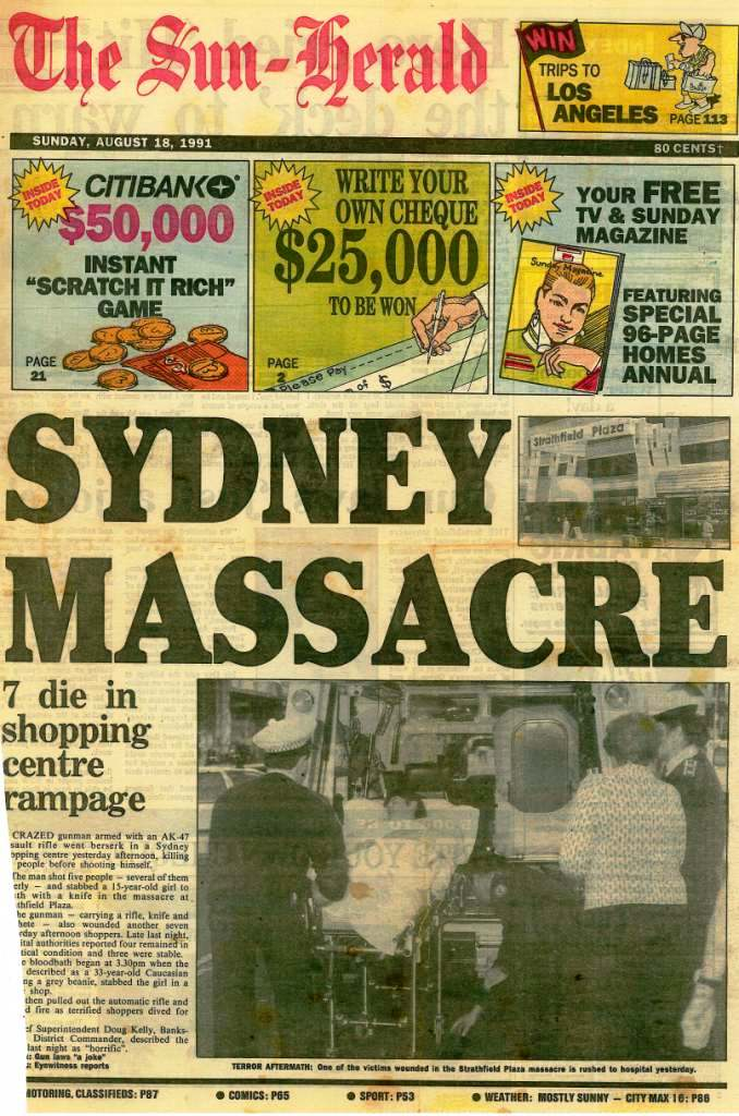 Front page of Sun Herald August 1991