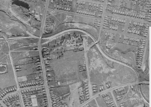 Cooks River Strathfield South 1943 aerial photograph clearly showing the progress of concreting and realignment of the river