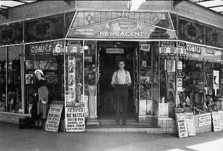 Homebush Newsagency 1936, corner Knight Street and Parramatta Road Homebush.