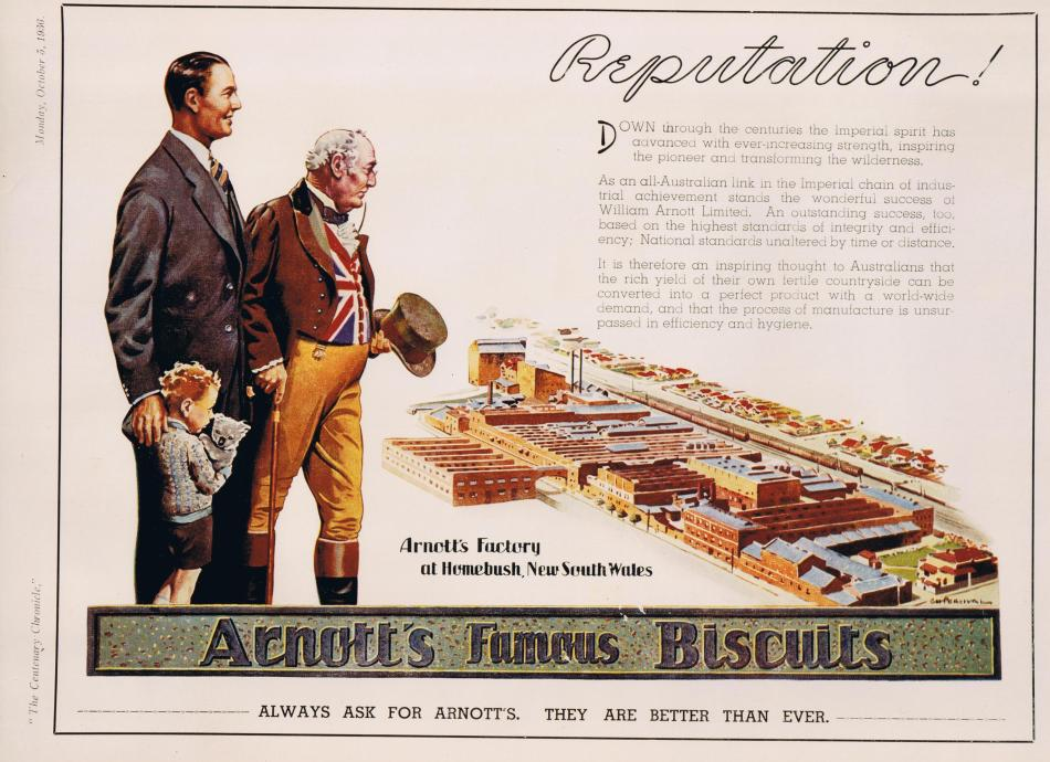 Arnotts advertisement of factory