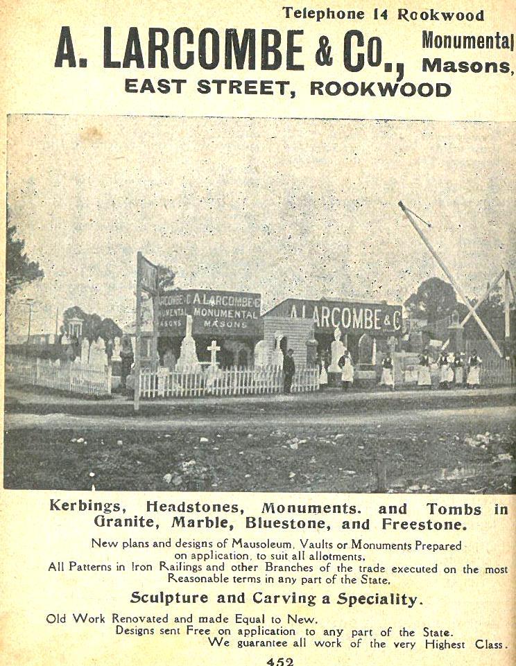 Larcombe & Co Monumental Masons Wise 1920s