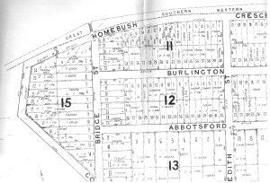 1878 'Village of Homebush' (DP 400) Sub-Division Map featuring Burlington Road