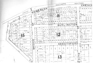 1878 'Village of Homebush' (DP 400) Sub-Division Map featuring Burlington Road