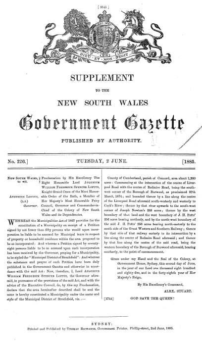 Proclamation of Strathfield Council 1885 - NSW Gazette