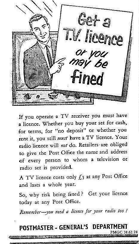 Advertisement for TV Licences - The Citizen, February 13 1958