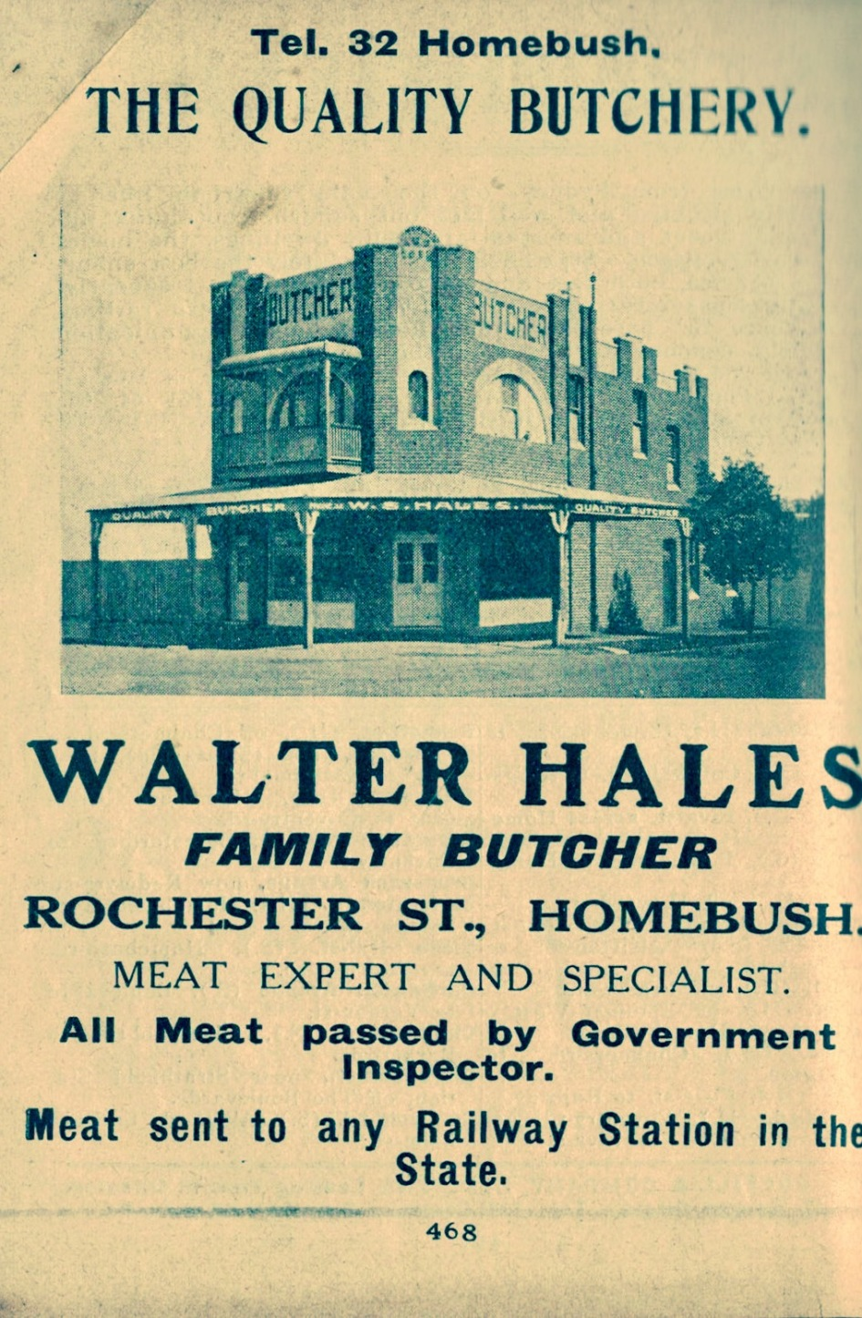 Advertisement for Butcher Shop - 1 Rochester Street Homebush. Source: Wilson's Directory 1913