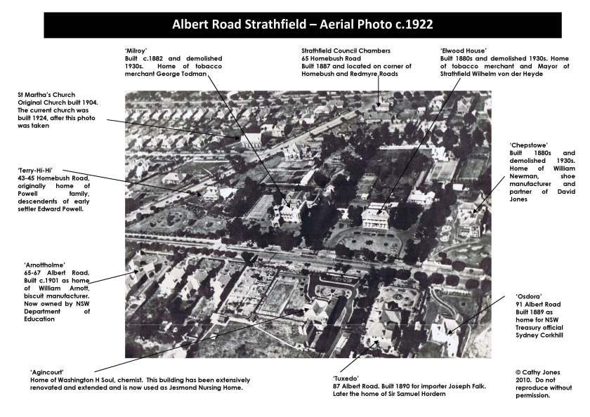 Aerial photo with labels of Albert Road 1922