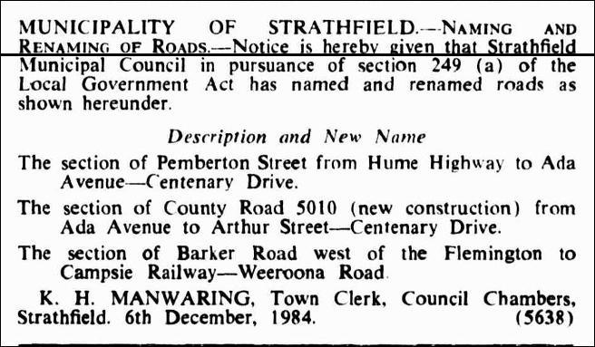 Barker Road renaming Gazette 14 December 1984.jpg
