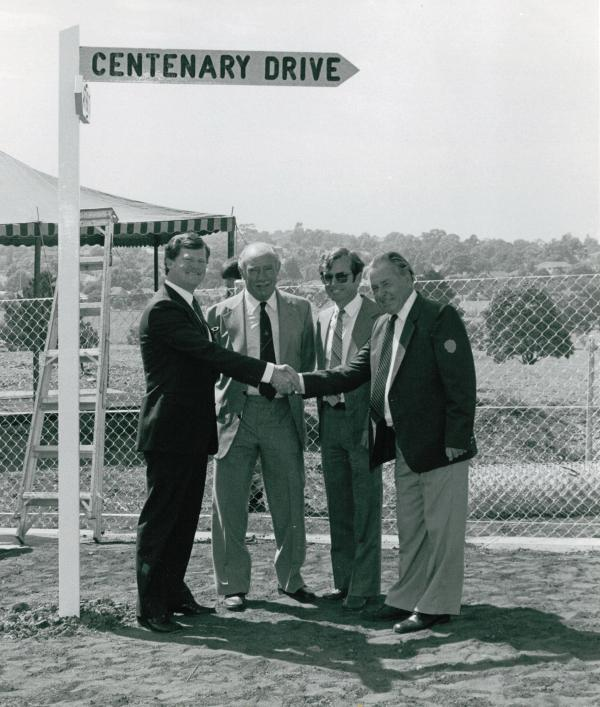 Opening of Centenary Drive in late 1984 with Strathfield Council Mayor Rod Rimes, Council Engineer's Alan Wilson and Warwick Grey, Strathfield Council Keith Manwaring.