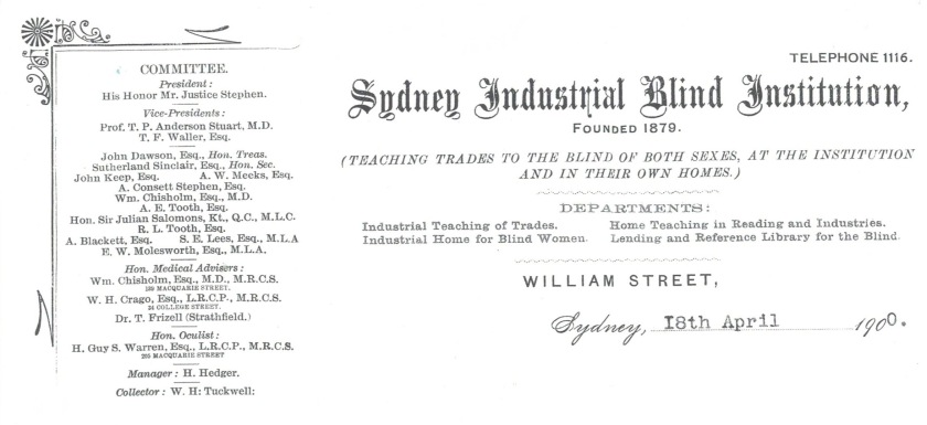 Letterhead dated 1900 of the Sydney Industrial Blind Institution.