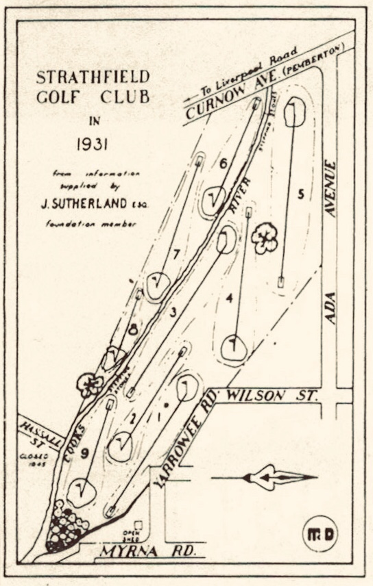 Map of original 1931 Strathfield Golf Club Course layout