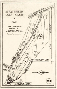 Map of original 1931 Strathfield Golf Club Course layout
