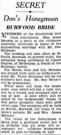 Don Bradman's bride at Strathfield Golf Club function The Sun 29 April 1932, p7