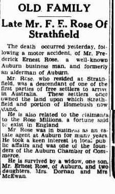 Death of Frederick Rose - 14 Carrington Avenue Strathfield