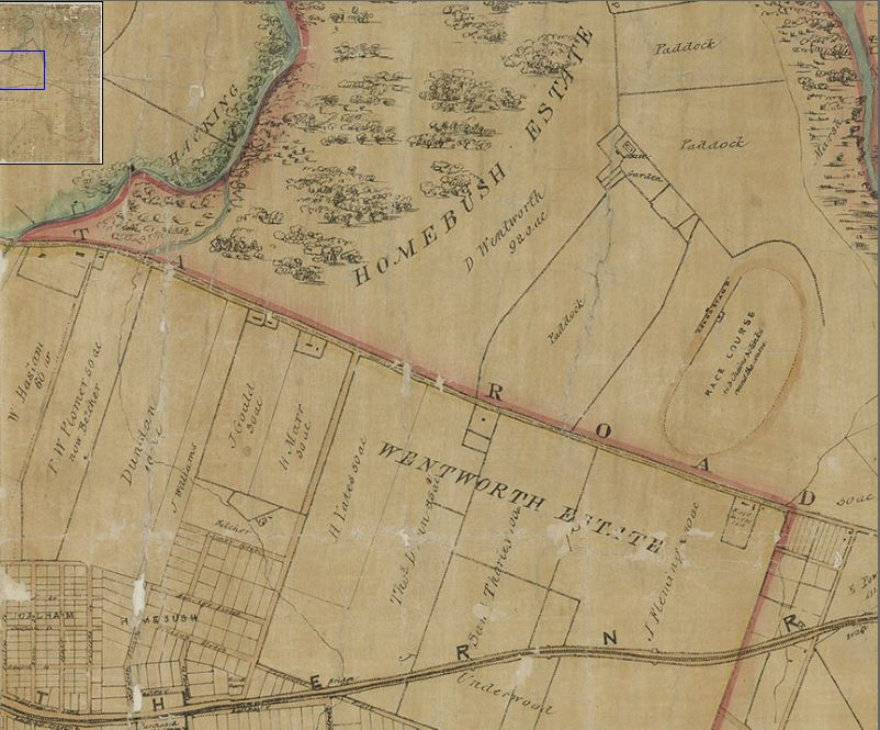 Early parish map showing land included in the Homebush Estate (D Wentworth) from Department of Lands