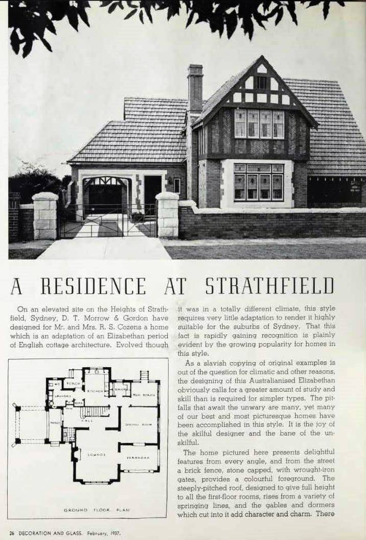 23 Newton Road as featured in Decoration and Glass February 1937, the home of Mr & Mrs R Cozens