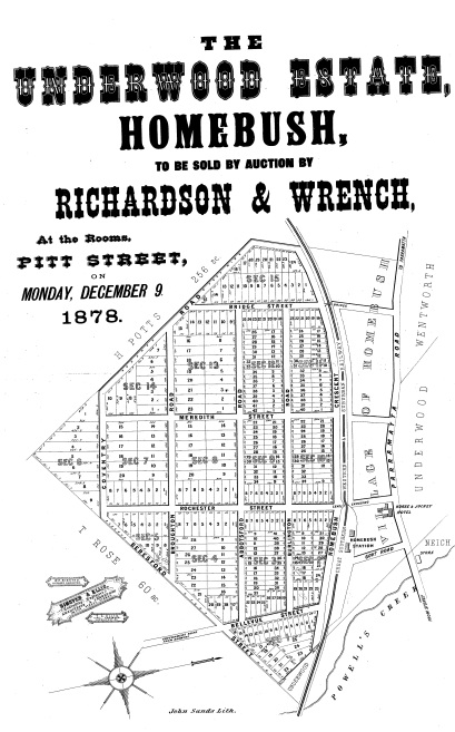 Village of Homebush Estate Subdivision Map December 1878