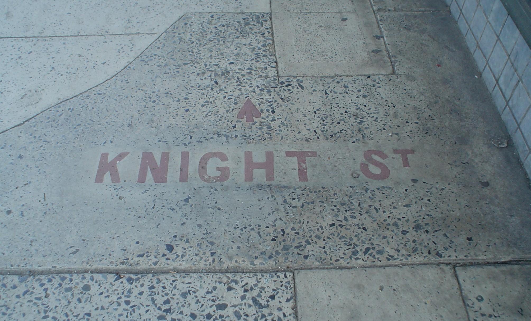Knight Street footpath signage