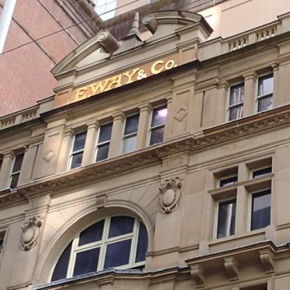Facade of E Way & Co. Pitt St Mall. Photo Cathy Jones 2021