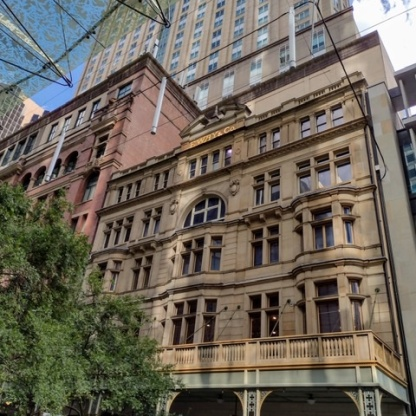 Former building and facade of E Way & Co. Pitt St Mall. Photo Cathy Jones 2021