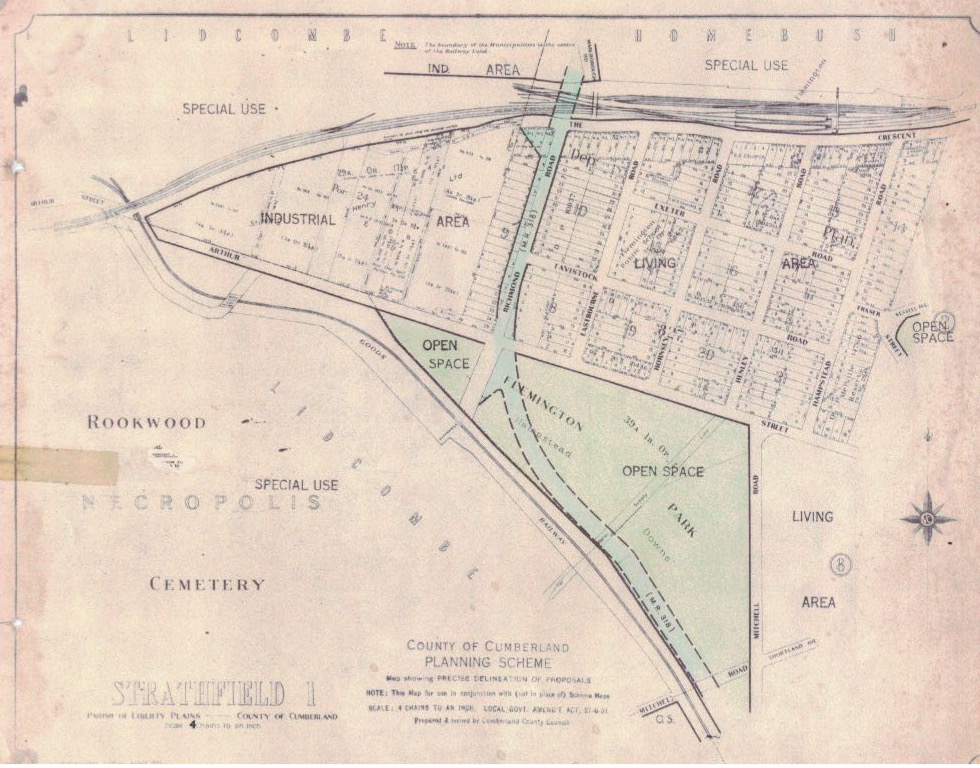 Map of proposed county road through Hudson Park c1950s
