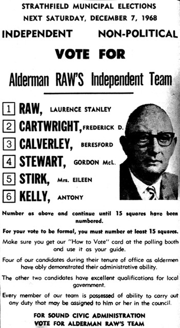 Lawrence Raw ticket 1968 election