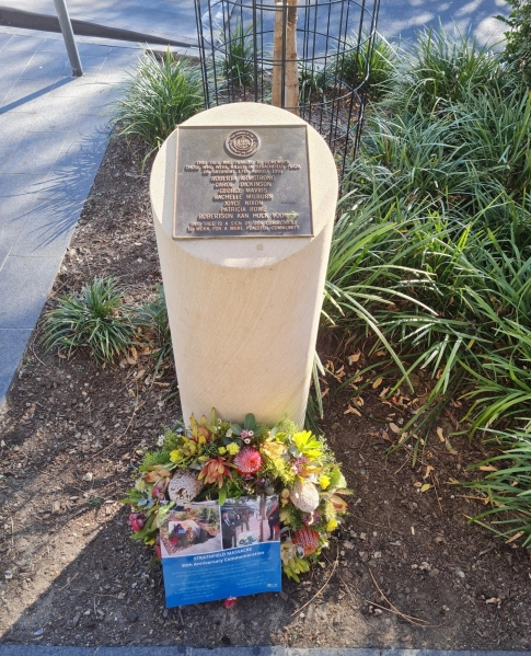 Strathfield Council Memorial with wreath August 2021. Photo Strathfield Council